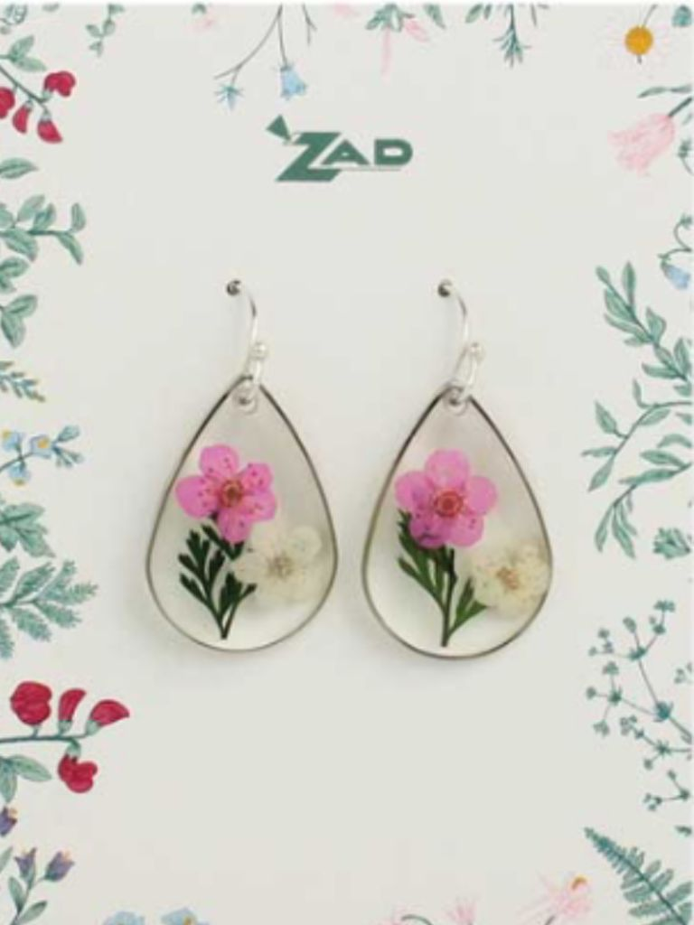 GCBLove Pink Pressed Flower Earrings
