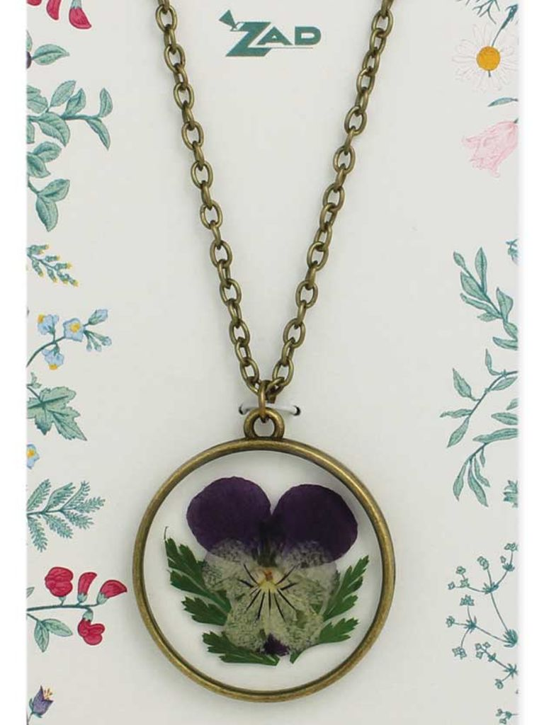 GCBLove Purple Pressed Flowers Necklace