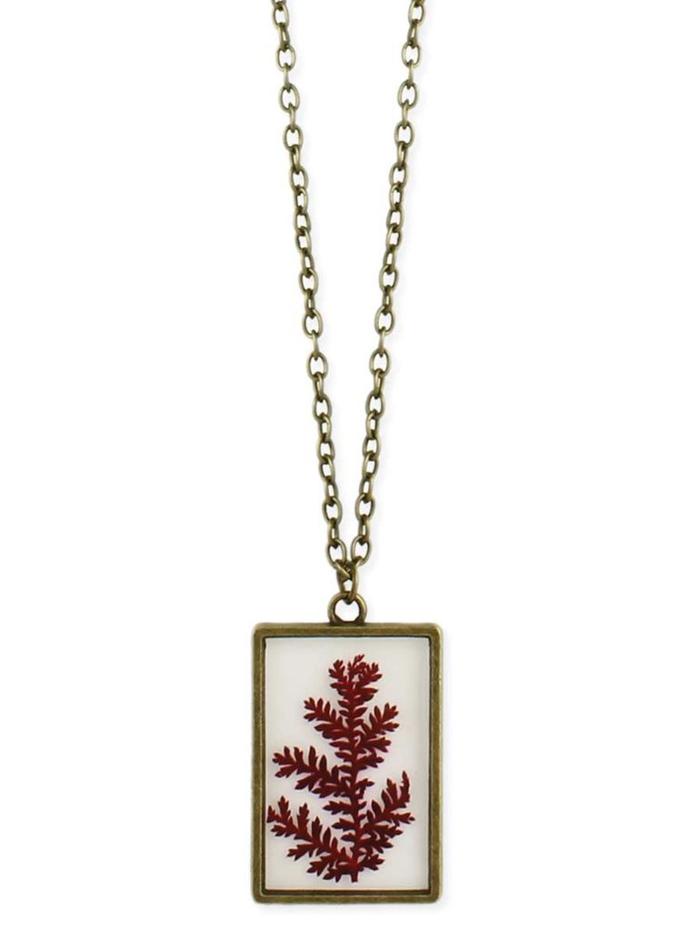 GCBLove Red Fern Pressed Flowers Necklace