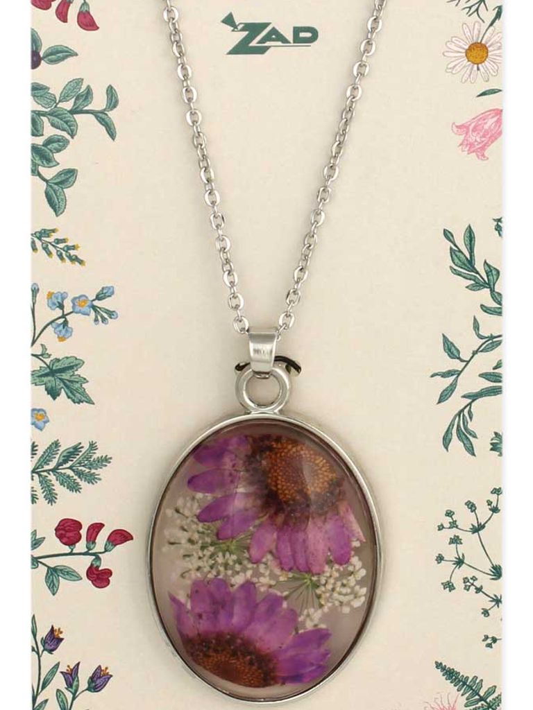 GCBLove Purple Daisy Pressed Flowers Necklace