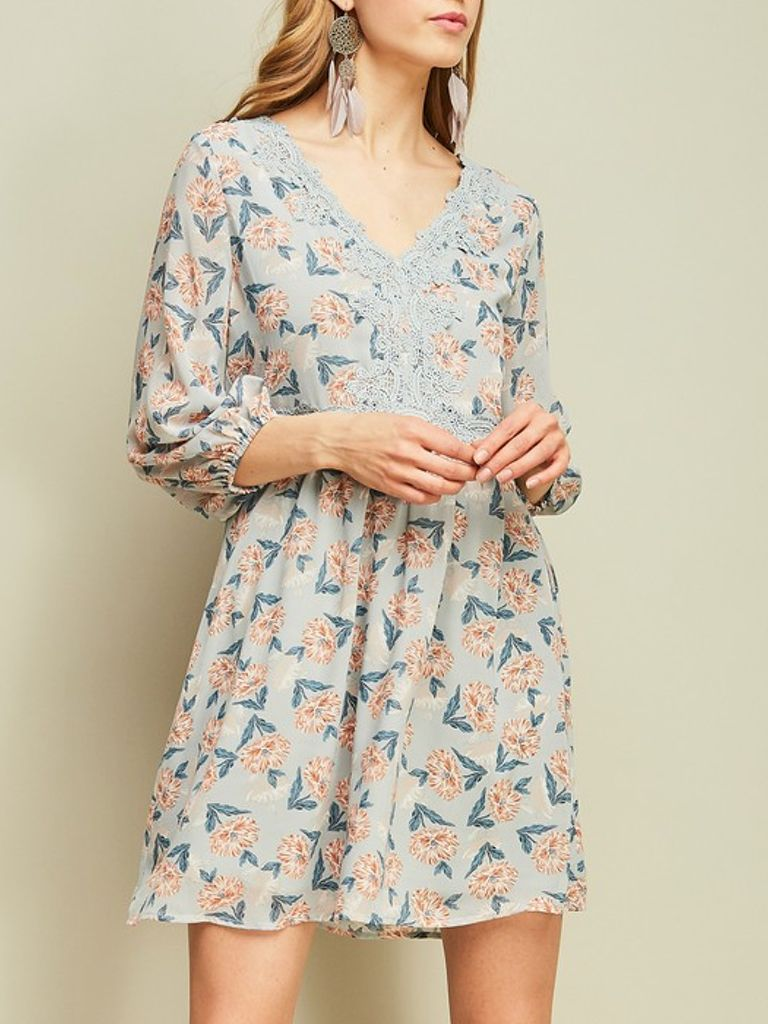 GCBLove Dusty Blue Floral Frock