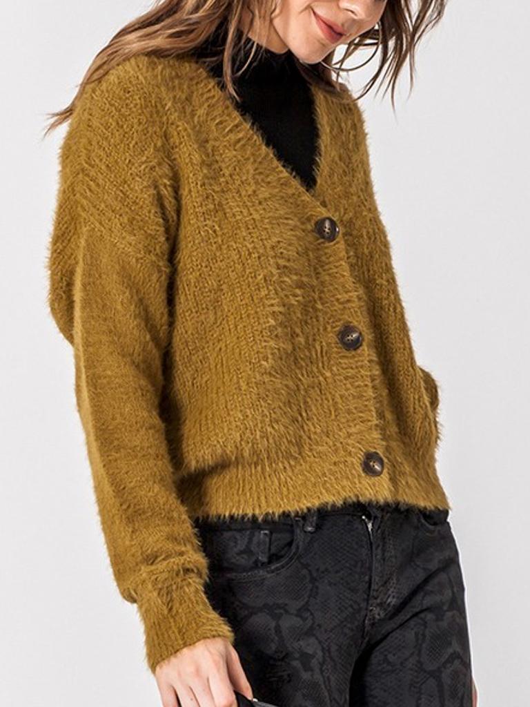 GCBLove Dz Fuzzy Button Sweater
