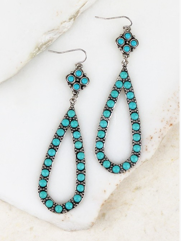 Clover and Tear Drop Mix Metal Earrings