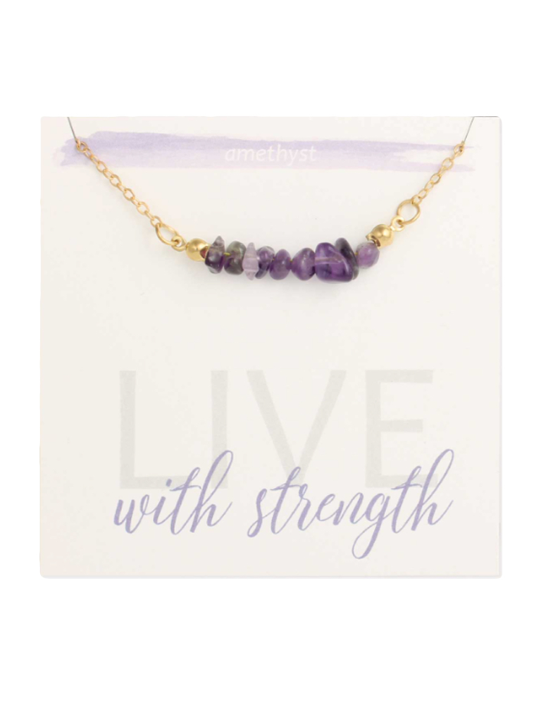 Zad Amethyst Chips Gold Necklace