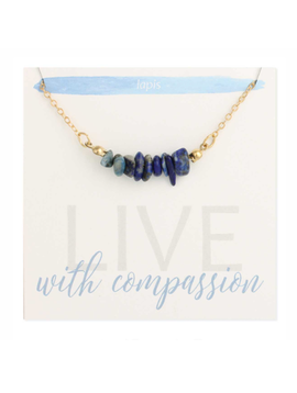 Lapis Chips Gold Necklace