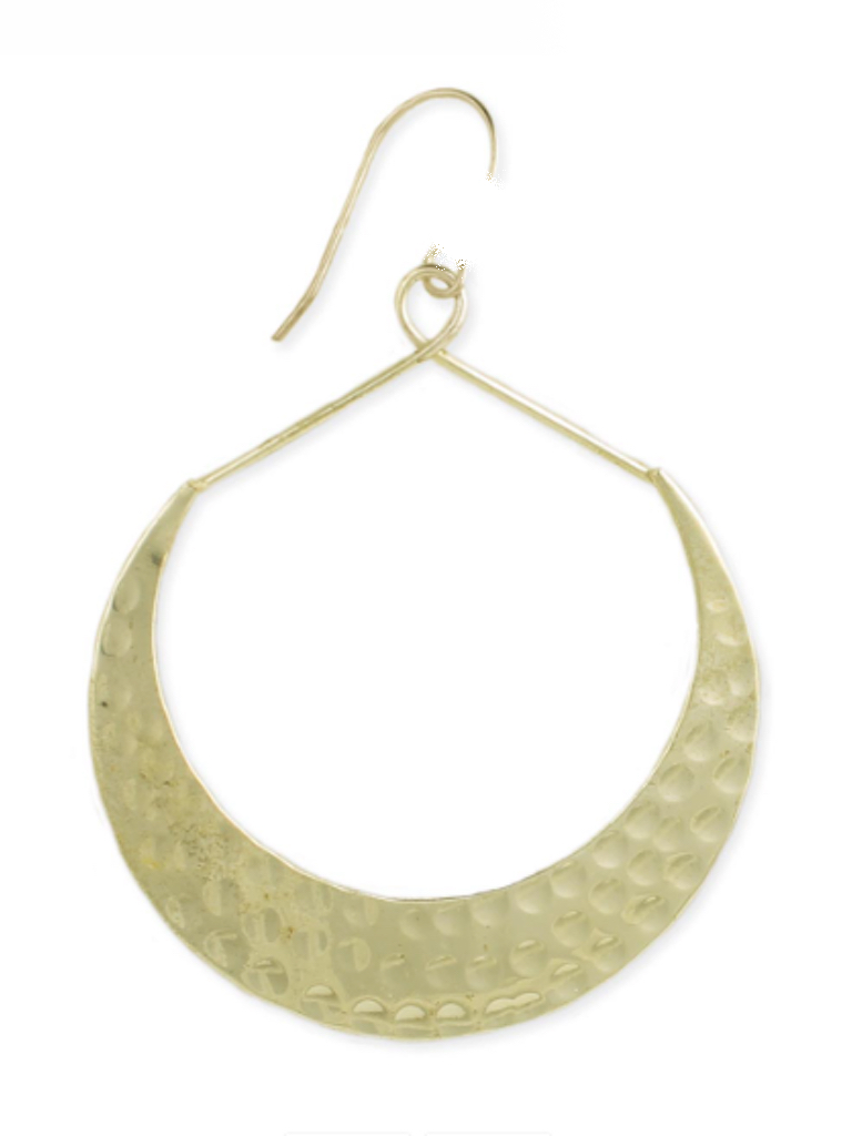 Gypsy Chic Gold Hammered Crescent Earrings