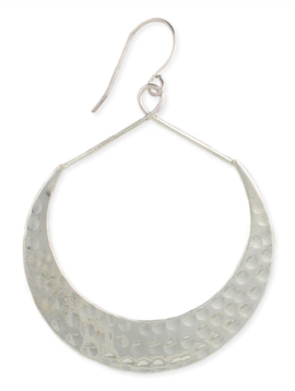 Zad Silver Hammered Crescent Earrings
