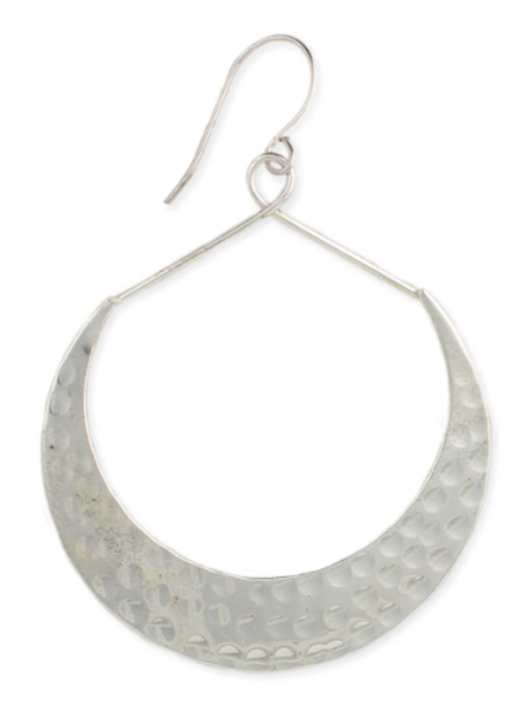 Silver Hammered Crescent Earrings