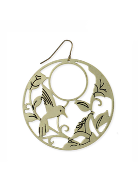 Gold Bird and Leaves Earring