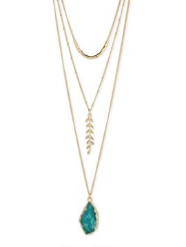 Zad Gold & Green Fern Neckalace