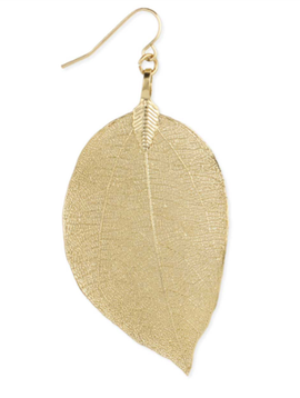 Zad Gold Natural Leaf Earring
