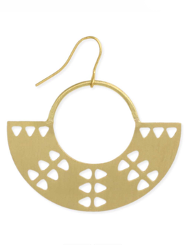 Gold Tribal Crescent Earring