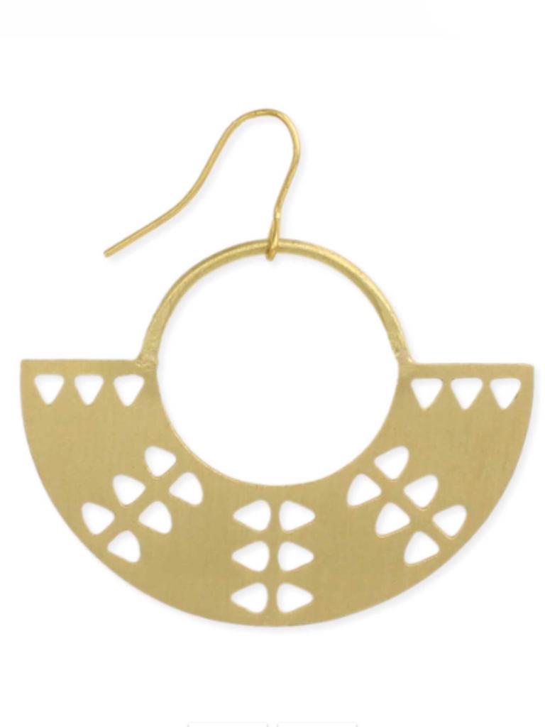 Gold Tribal Crescent Earring