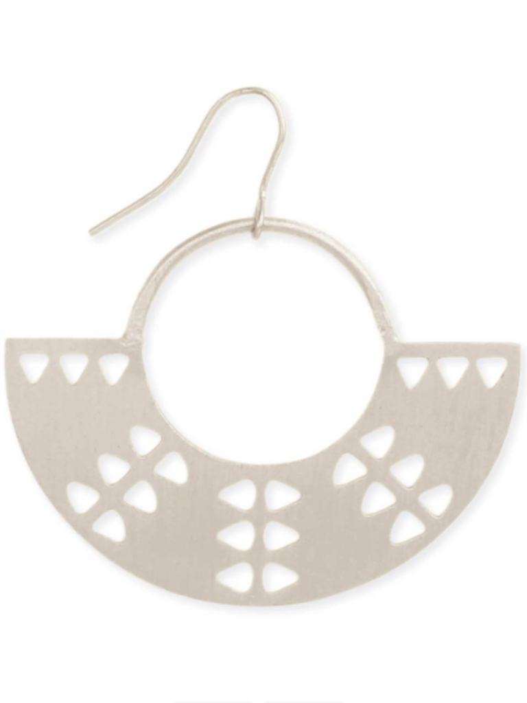 Silver Tribal Crescent Earring