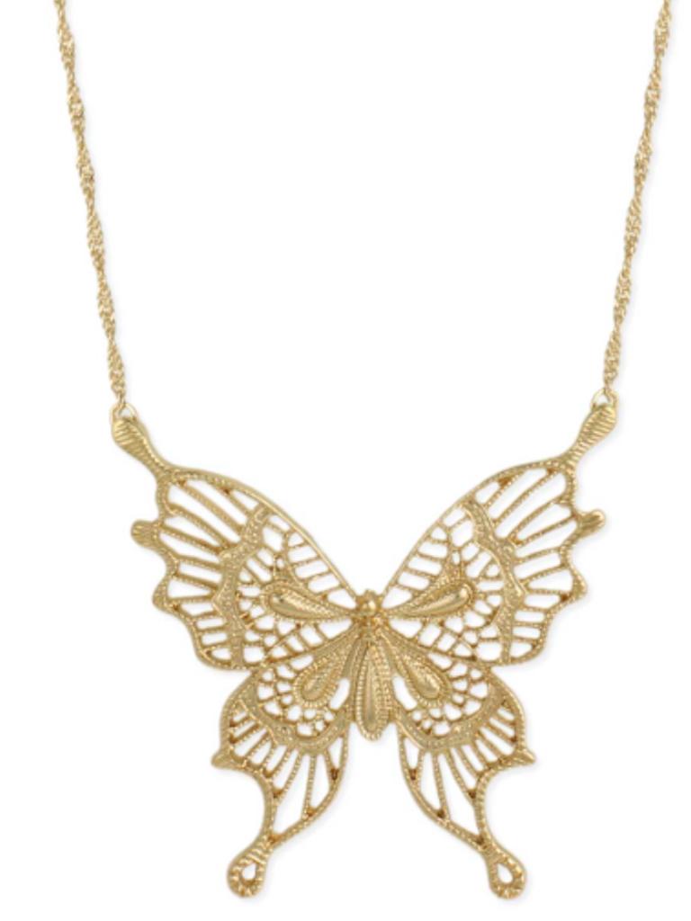 Gold Fancy Butterfly Necklace