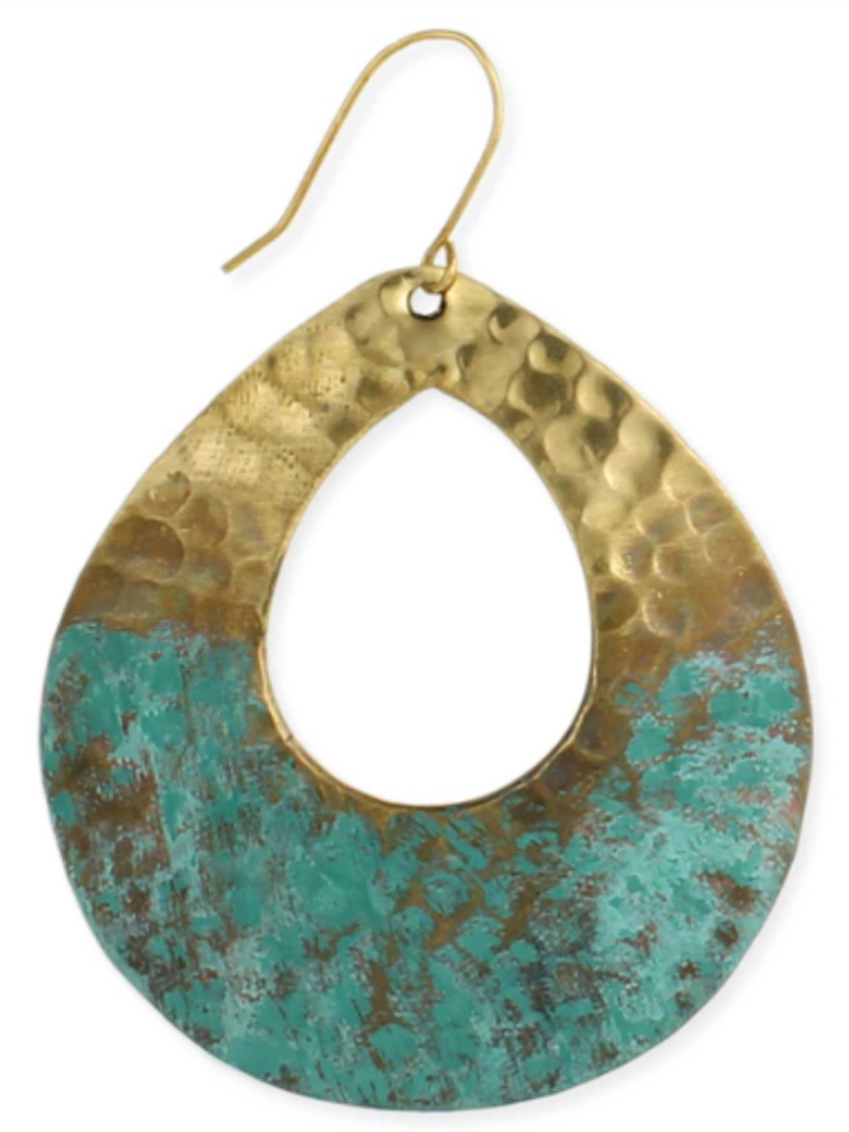 Gold Hammered Patina Teardrop Earrings