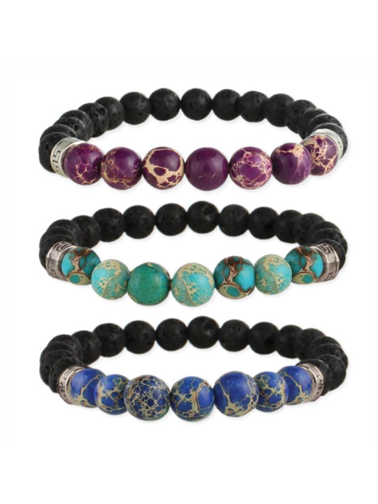 Gypsy Chic Purple Jasper and Lava Bead Essential Oil Bracelet