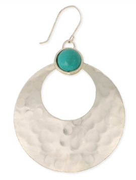 Zad Silver Hammered & Turquoise Earring