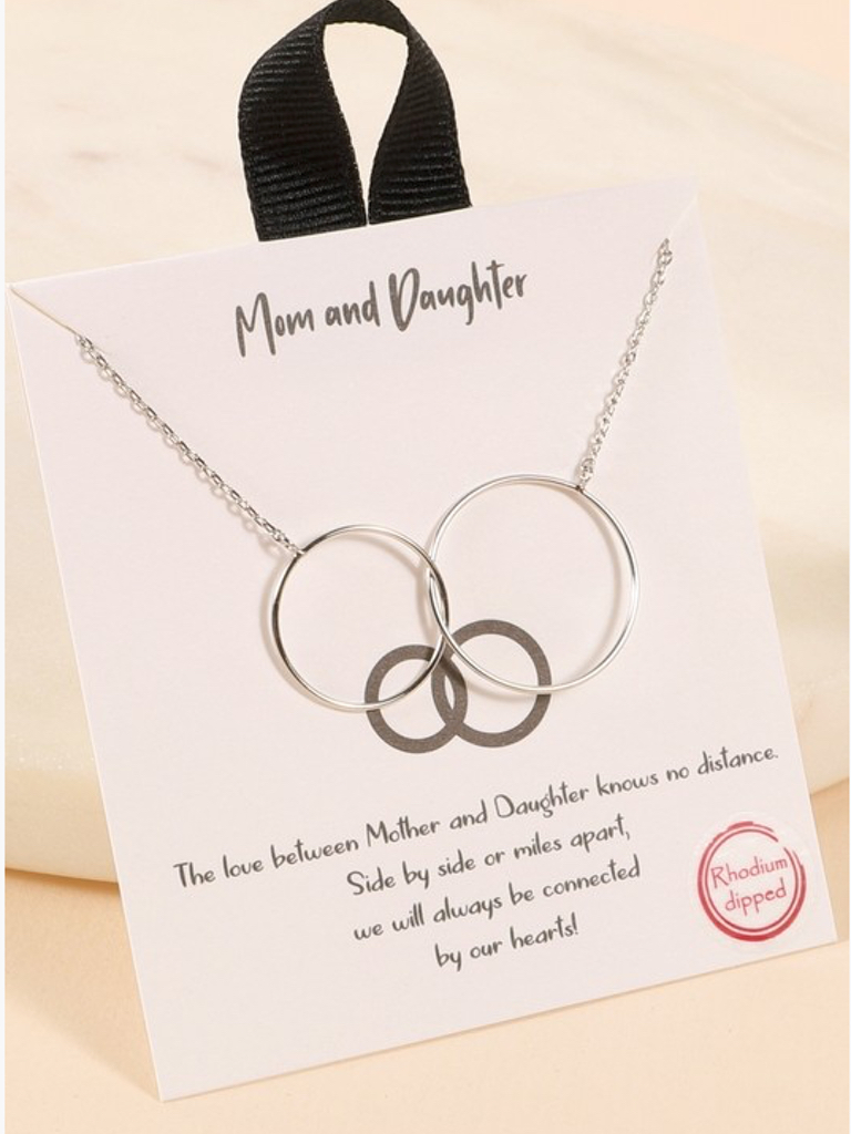 Mom and Daughter Circle Necklace