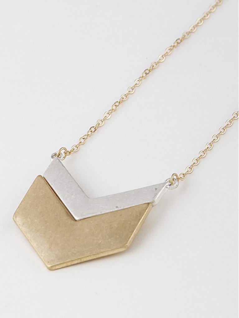 H & D Accessories Two Tone Triangle Necklace