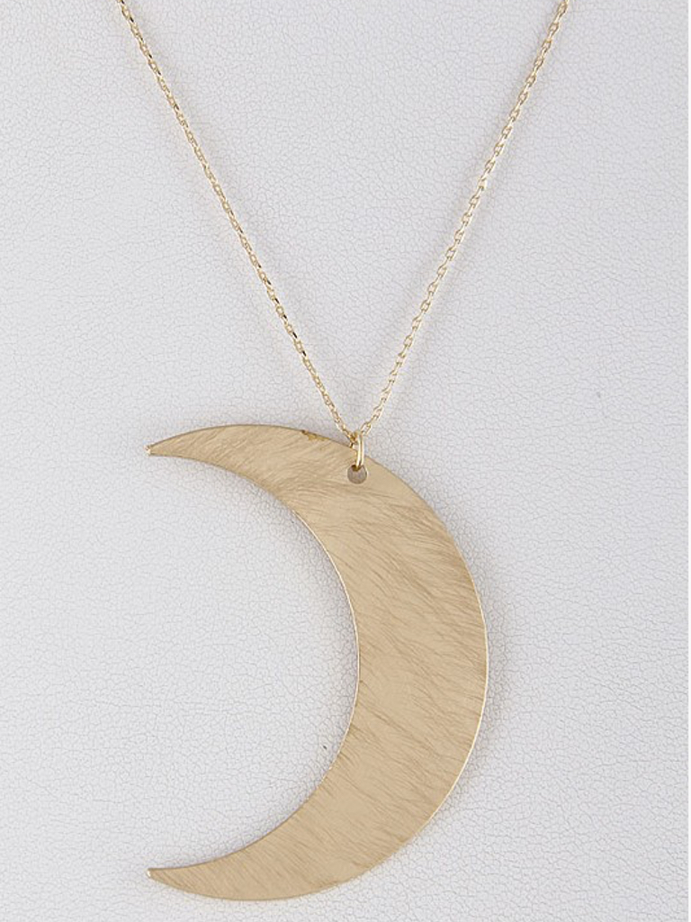 H & D Accessories Long Gold Moon Necklace