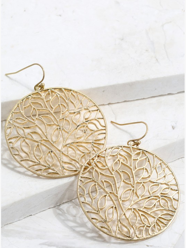 Leaf Circle Mix Metal Gold Earrings