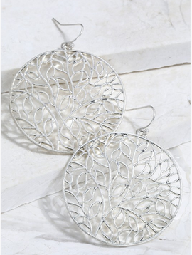 Leaf Circle Mix Metal Silver Earrings