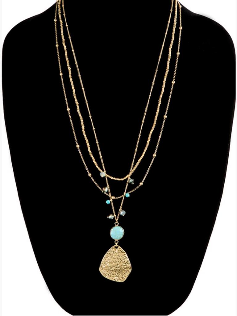 Triple Layer Mix Metal Necklace(Color Trq)