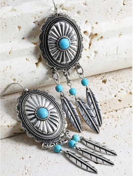 Feather Tassel Mix Metal Earrings