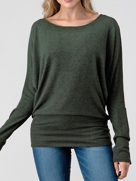 Fuzzy Dolman Scoop Top