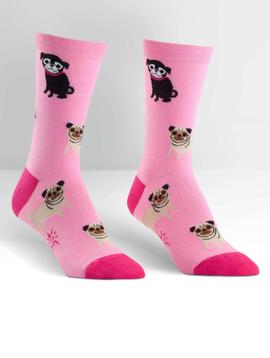 Pink Pugs Crew Socks