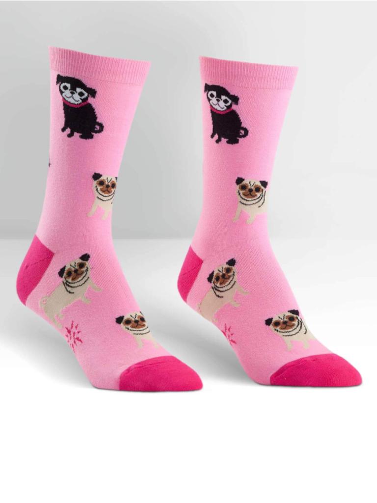 Sock it to Me Pink Pugs Crew Socks