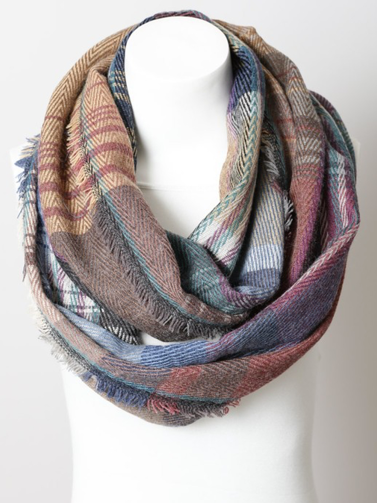 GCBLove Patched Plaid Infintiy Scarf