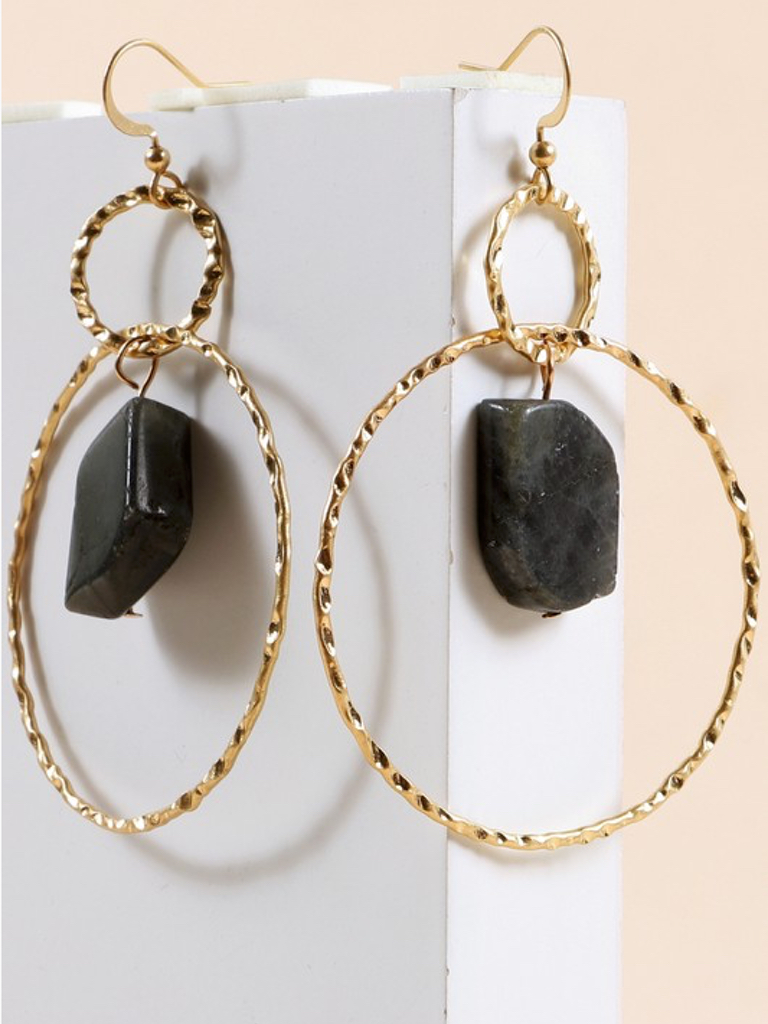 Stone Hammered Metal Earrings