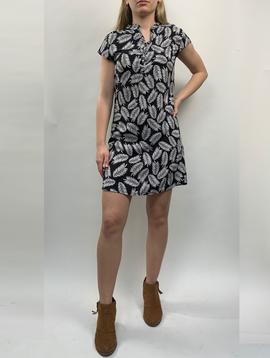 Zahara 3 Button Business Dress, Black Palms