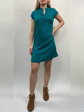 Zahara 3 Button Business Dress, Teal Fans