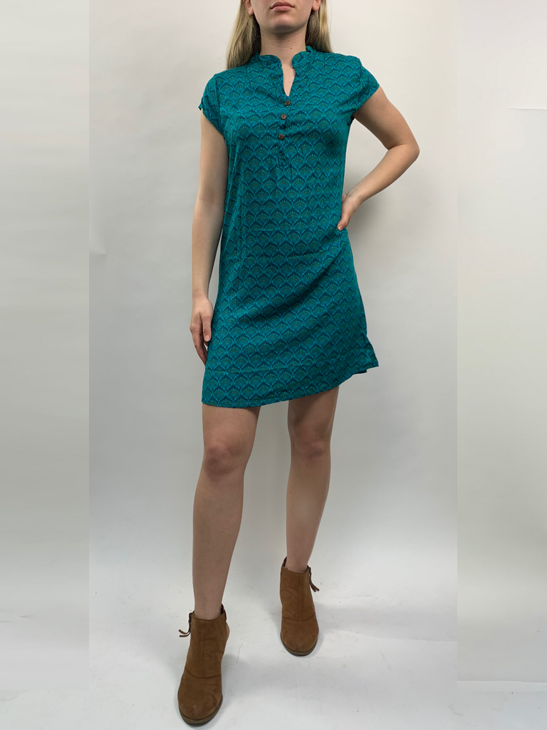 Zahara 3 Button Business Dress, Teal Fans