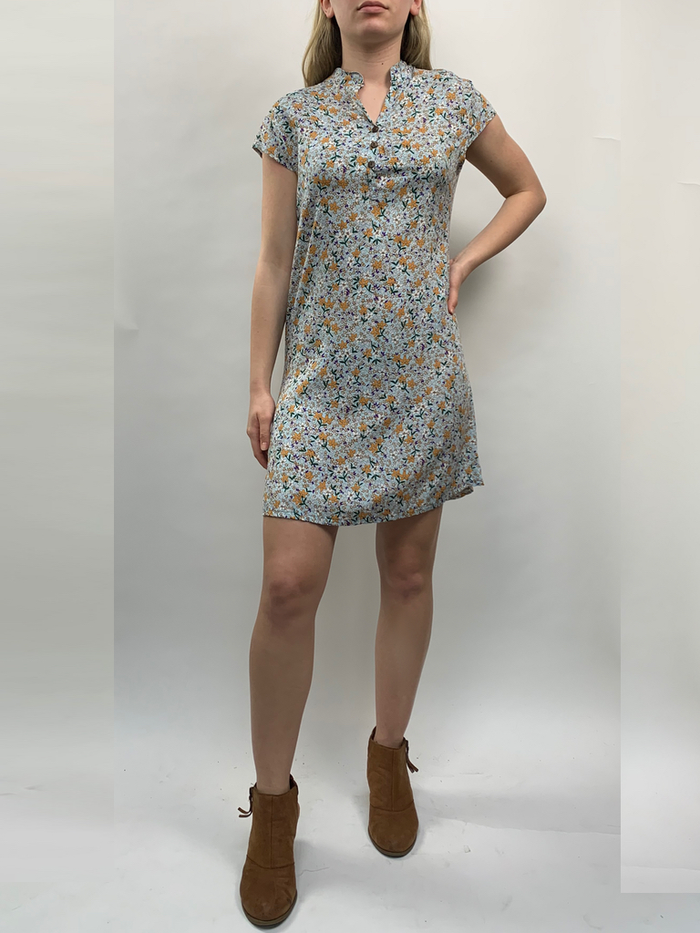 Zahara 3 Button Business Dress, Flower Fields
