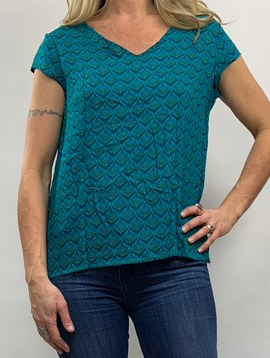 Zahara Utopian Top, Teal Fans