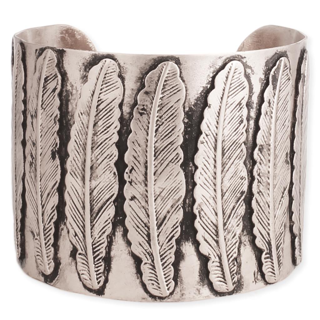 Zad Southwest Silver Feather Cuff