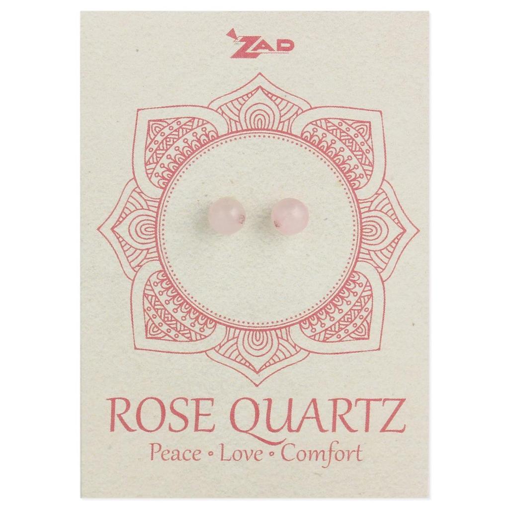 Rose Quartz Round Post Earringz