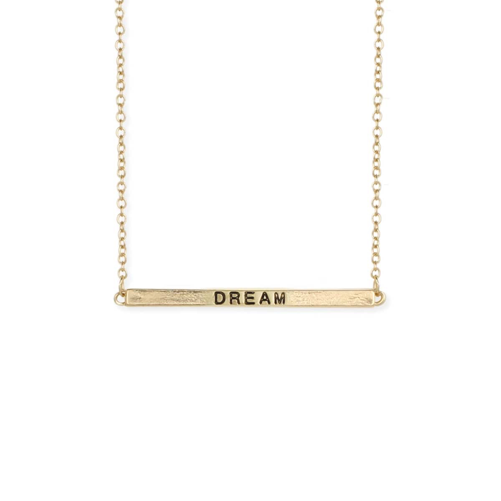Gypsy Chic Hidden Message Dream Gold Necklace
