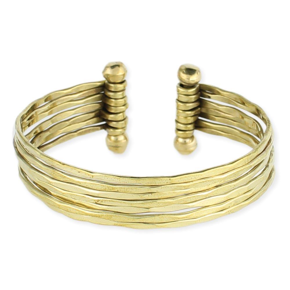 Zad Hammered Gold 7 Line Cuff