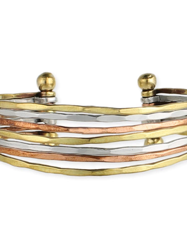 Zad Hammered Mixed 7 Line Cuff