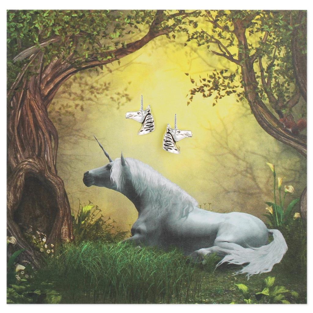 Silver Unicorn Post Earring