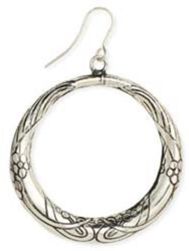 Zad Silver Etched Flower Vine Earrings