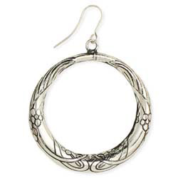 Silver Etched Flower Vine Earrings