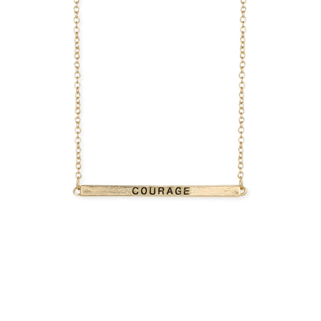 Gypsy Chic Hidden Message Courage Gold Necklace