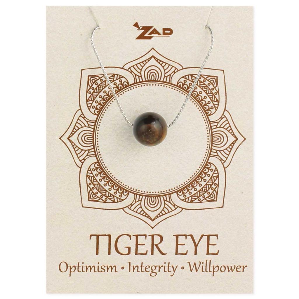 Gypsy Chic Tiger Eye Bead Silver Necklace