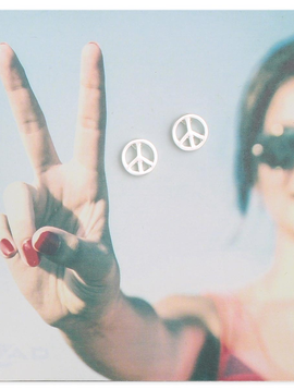Zad Silver Peace Sign Post Earrings